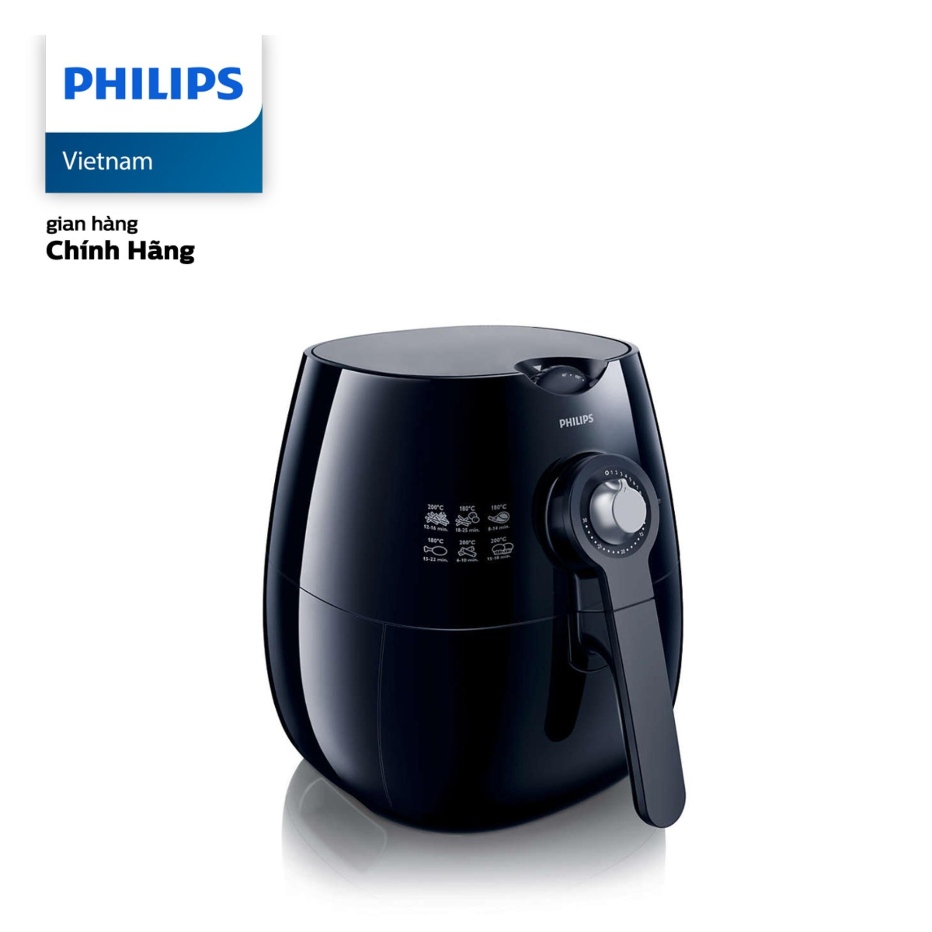 Nồi chiên không dầu Philips HD9220/20 1425W 2.2L (Đen) - Hàng phân phối chính hãng, ít béo đến hơn 80%,...