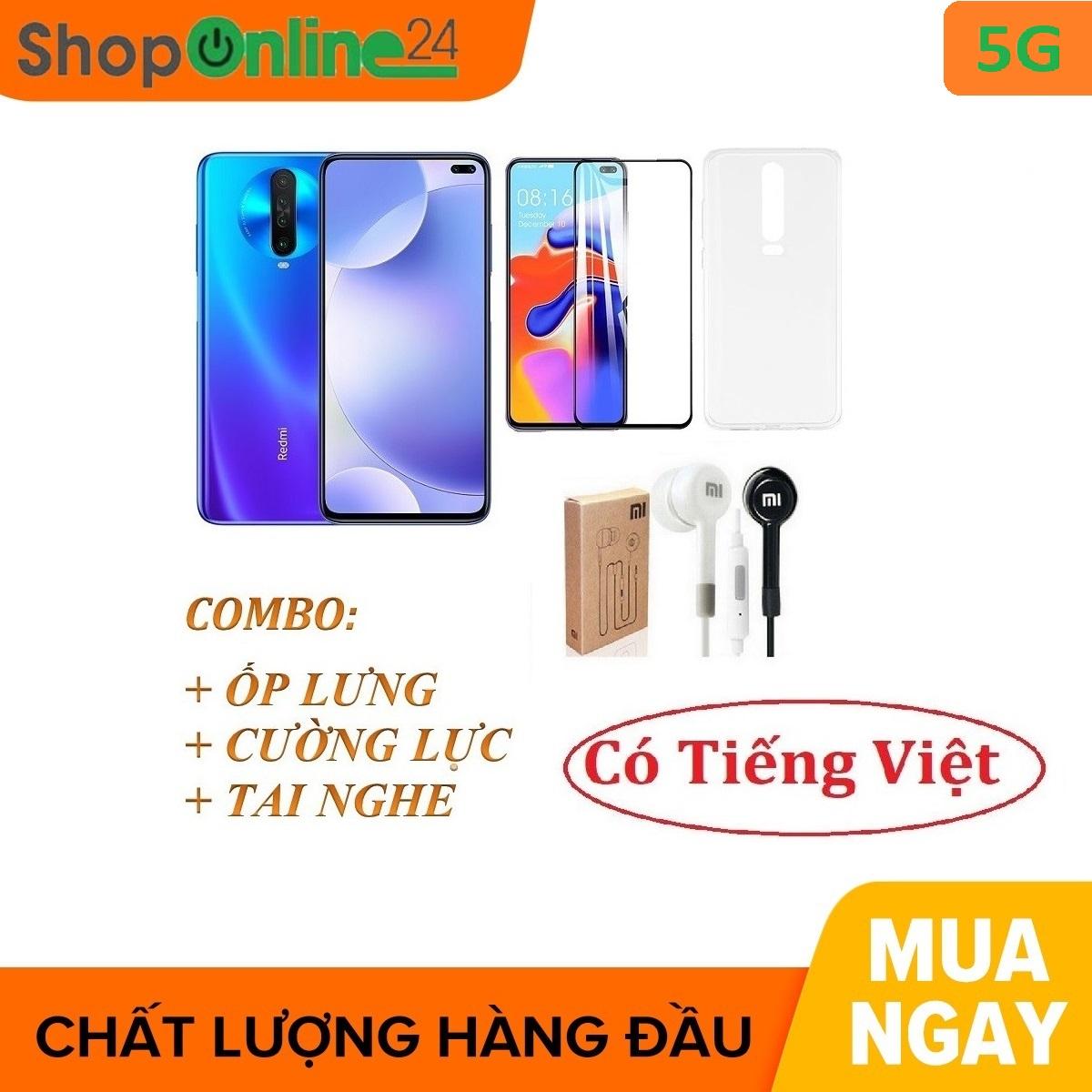 Combo điện thoại Xiaomi Redmi K30 5G 64Gb Ram 6Gb + Ốp lưng + Cường lực + Tai nghe - Hàng nhập khẩu