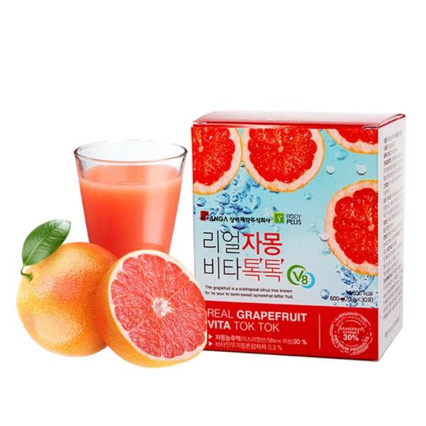 Nước Ép Bưởi Đỏ Giảm Cân Đẹp Da Sanga Real Grapefruit Vita Tok Tok 20g x 30 gói.