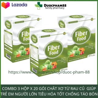 Combo 3 hộp chống táo bón Bột chất xơ hòa tan cho bé và cả gia đình Fiber Food HSD 2023 - Dược Phẩm 88- có video sản phẩm thumbnail