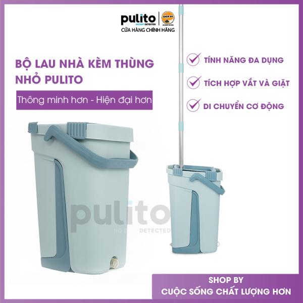 Chổi lau nhà thông minh chính hãng Pulito, bộ lau nhà tự vắt kèm thùng, tặng thêm 1 bông lau thay thế LS-CKT-N