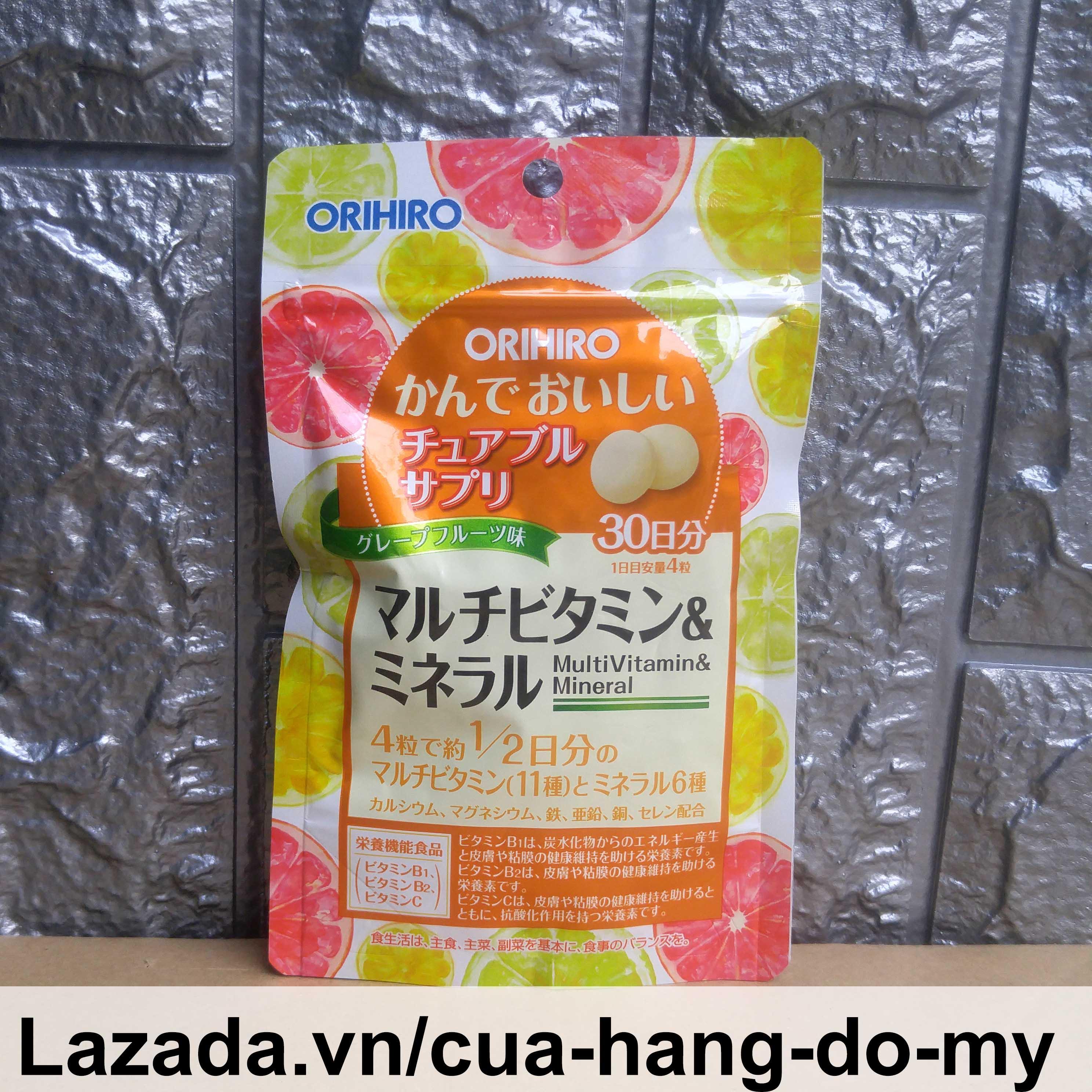 Kẹo ngậm bổ sung Vitamin và khoáng chất Orihiro 120 viên Multivitamin & Mineral - Kẹo nhai hương bưởi chanh bổ sung vi chất cao cấp