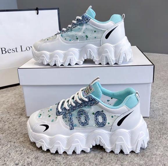 giày thể thao nữ đế răng cưa số 100 nhũ vẩy sơn siêu đẹp, giày sneaker  viền răng cưa nhũ xanh độn đế 5cm giá rẻ