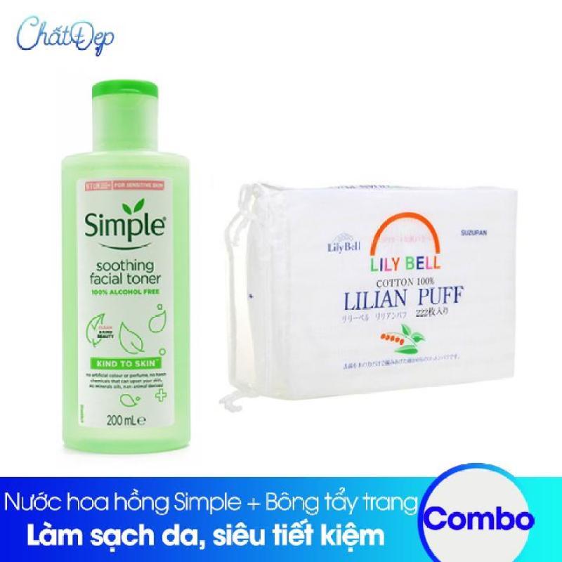 Combo Nước hoa hồng Simple và Bông tẩy trang Lily Bell 222 miếng