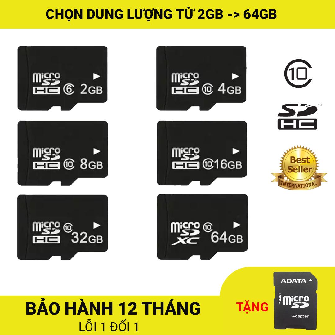 Thẻ nhớ MicroSDHC Class 10 Tốc độ cao 2GB/4GB/8GB/16GB/32GB+ Tặng kèm Adapter ADATA