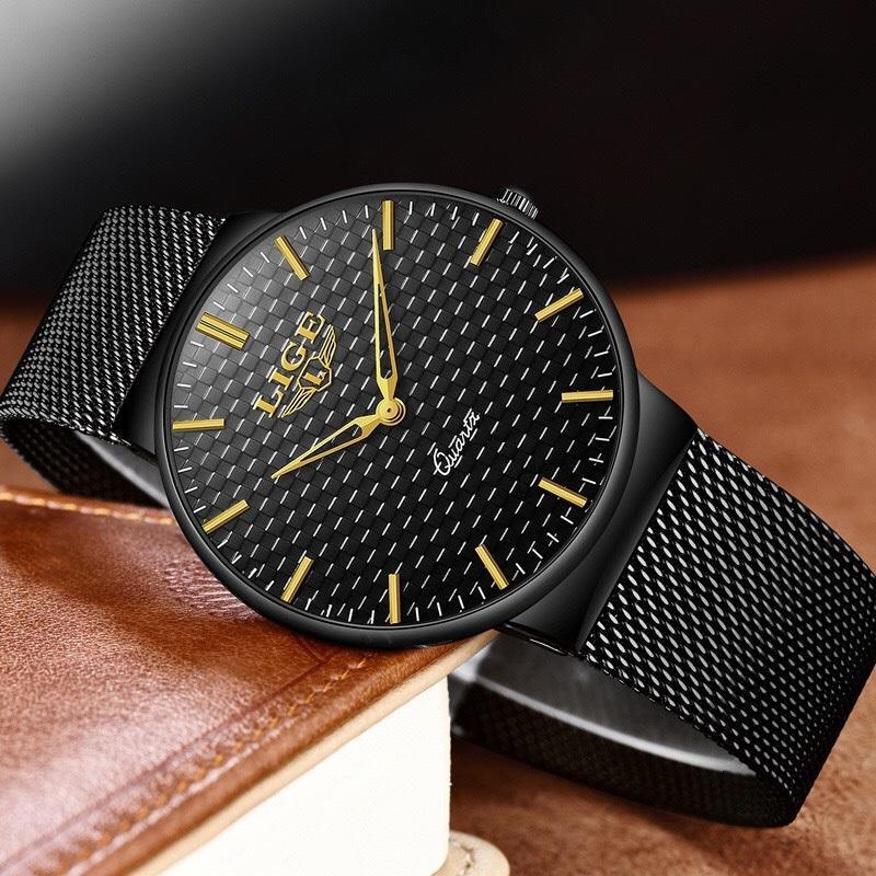 (HOT TREND 2020) Đồng hồ nam DIZIZID dây thép lụa đen chạy lịch ngày cao cấp NEW - HOT DZ24