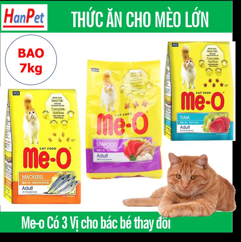 HCM- Me-o 7kg Thức ăn viên cho mèo lớn - CÁ NGỪ - CÁ THU - HẢI SẢN  dạng bao 7kg thức ăn  mèo trưởng thành (trên 1 năm tuổi)