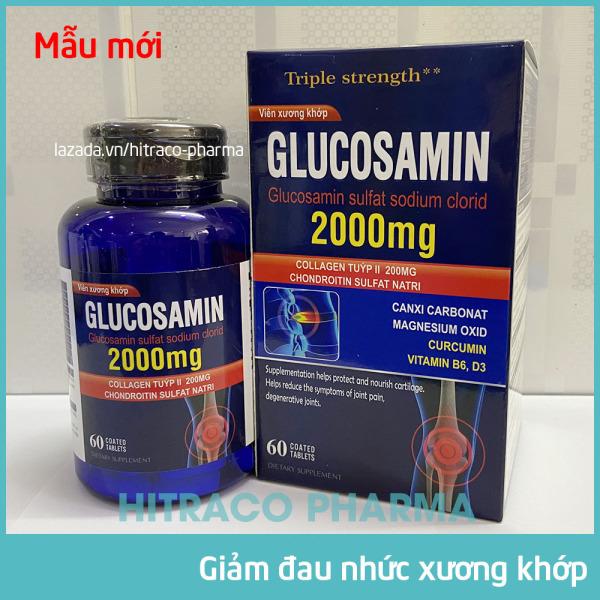 Viên Xương Khớp Glucosamin 2000mg giảm đau nhức mỏi xương khớp, giảm thoái hóa khớp, tăng độ nhớt nuôi dưỡng xụn khớp - Hộp 60 viên sử dụng 20 ngày
