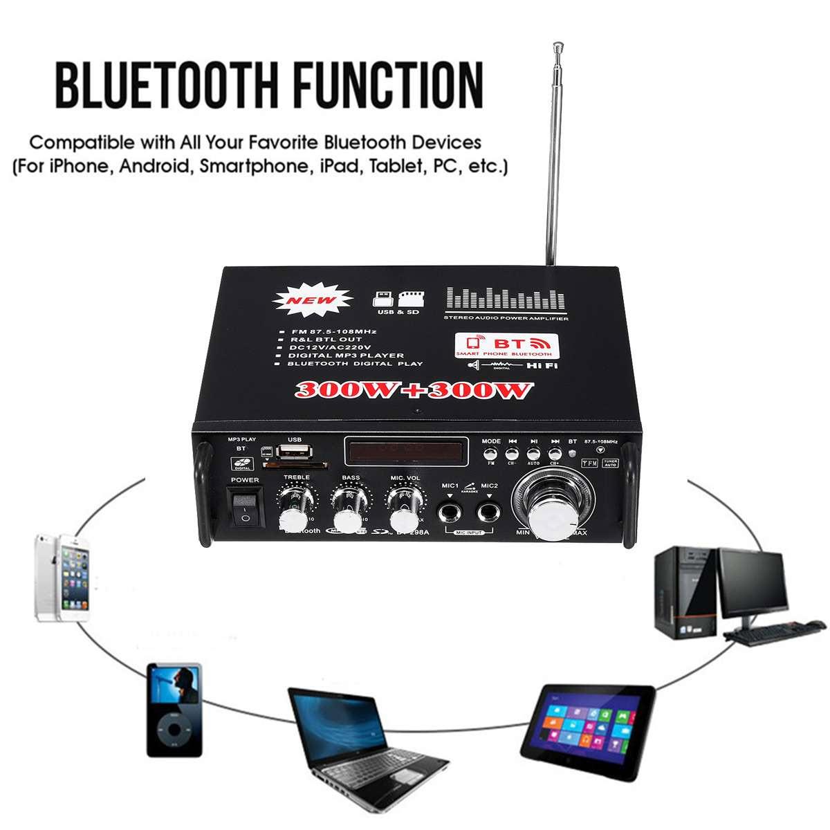 Amply karaoke Ampli mini công suất lớn Ampli Mini Karaoke Bluetooth Cao Cấp BT-298A AZONE ông Suất cực đại 600W chuyên nghe nhạc