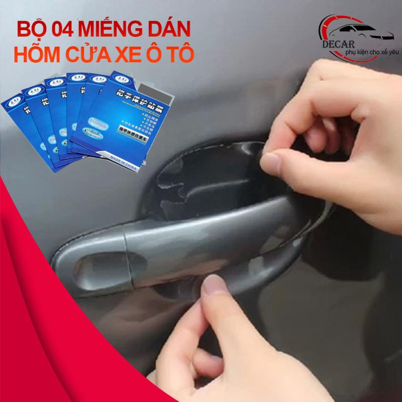 Bộ 4 miếng dán chống xước hõm cửa xe hơi ô tô, miếng dán trong suốt chống xước tay nắm bảo vệ hõm cửa, tấm dán hõm cửa ô tô, chống xước tay nắm xe hơi
