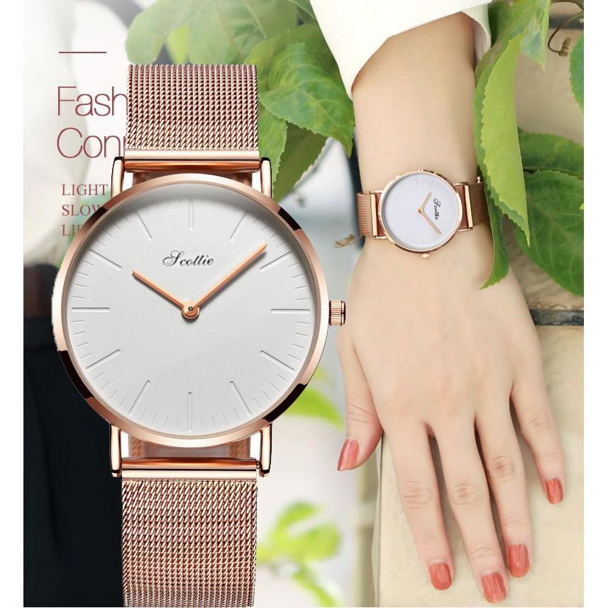 Nơi bán Đồng hồ nữ Scottie Korea dây titanium cao cấp + Tặng pin