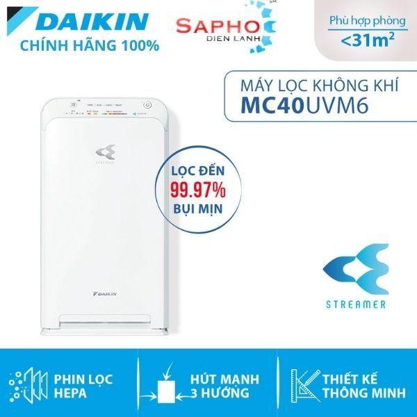 Máy lọc không khí Daikin MC40UVM6 - Hàng chính hãng - Phin lọc tĩnh điện Hepa - Hút gió 3 hướng - Vận hành êm ái - Thiết kế nhỏ gọn- Điện Máy SAPHO