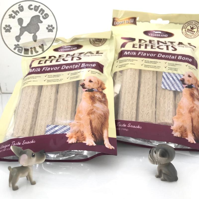 Thức ăn nhai làm sạch răng cho chó 7dental thanh lớn vị sữa - 100gram