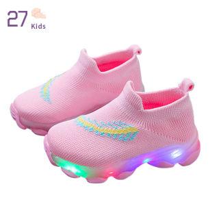27 Giày Thể Thao Cho Bé Trai, Giày Tất LED Cho Bé Gái Sơ Sinh Giày Thể Thao Trẻ Em Phát Sáng Giày Lười Dệt Kim Thoáng Khí