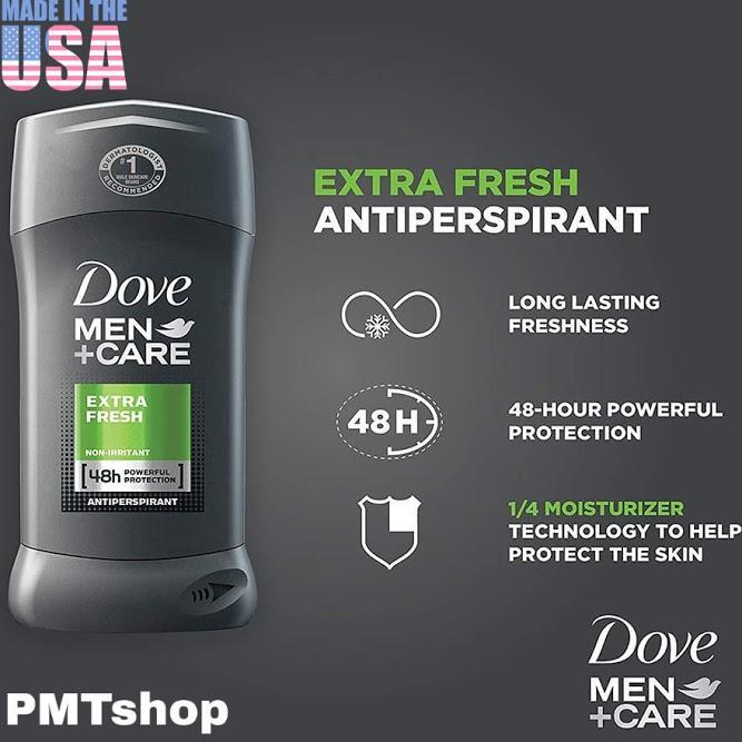[USA] Lăn sáp Khử Mùi nam Dove Men Extra Fresh 76g +Care (sáp trắng) - Mỹ