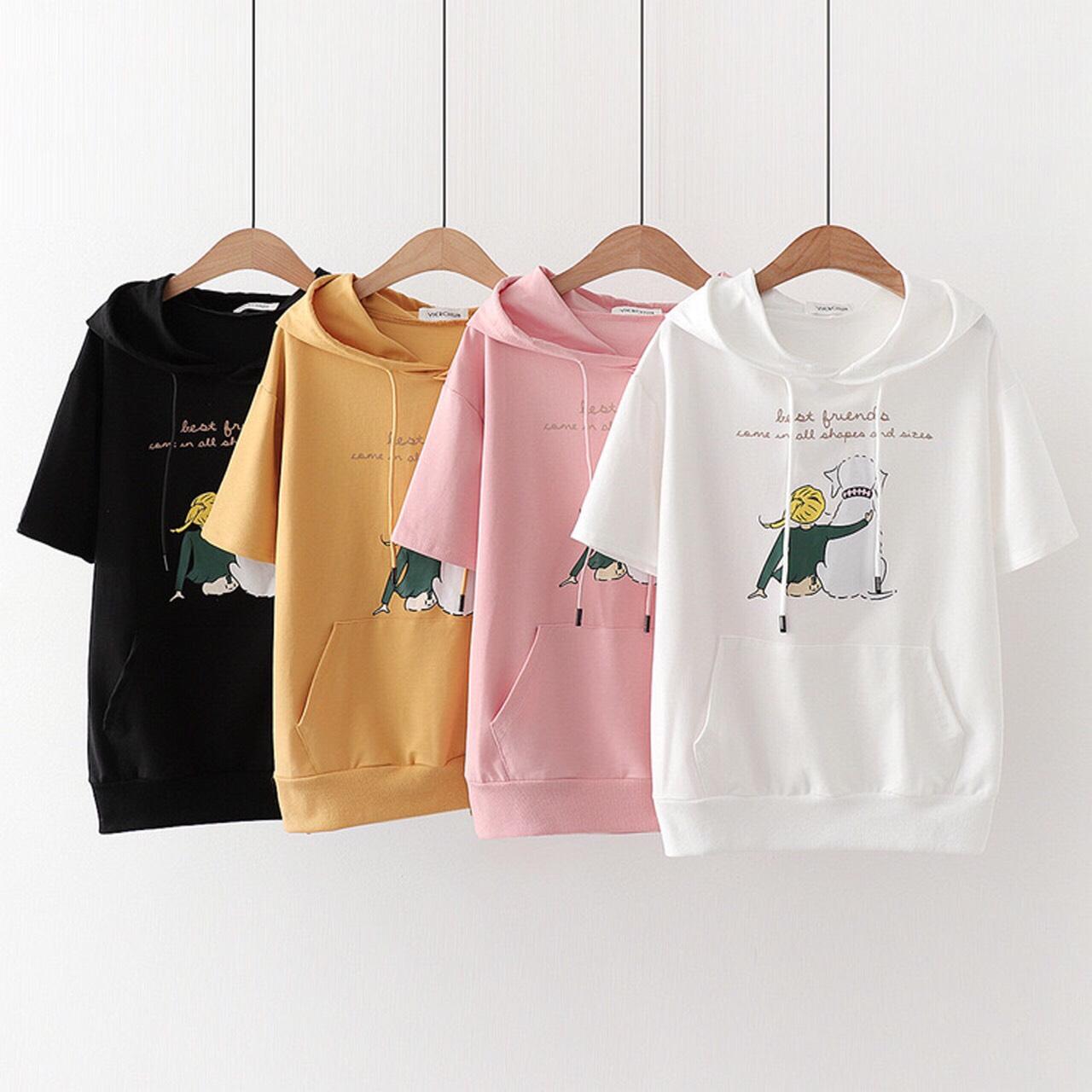 Áo thun hodie cho bé gái và mẹ chất thun cotton xinh mát có 4 màu như hình
