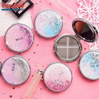 Gương trang điểm mini 2 mặt, bề mặt cát kim tuyến sáng tạo, gương cầm tay mini với 2 hiệu ứng phóng đại mặt kim tuyến sang trọng, nhỏ gọn bỏ túi, gương cầm tay, gương makeup thumbnail