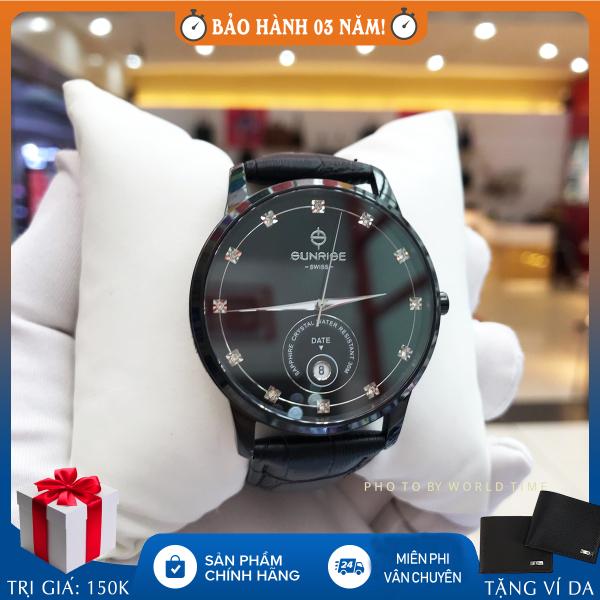 Đồng hồ nam Sunrise 1138SA B full hộp, thẻ bảo hành 3 năm, sapphire chống xước, chống nước, dây da bán chạy