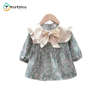 Tootplay Đầm Họa Tiết Hoa Phong Cách Hàn Quốc Cho Bé Gái Đầm Dài Tay Thắt Nơ Bằng Cotton, Dành Cho Trẻ 0-3 Tuổi