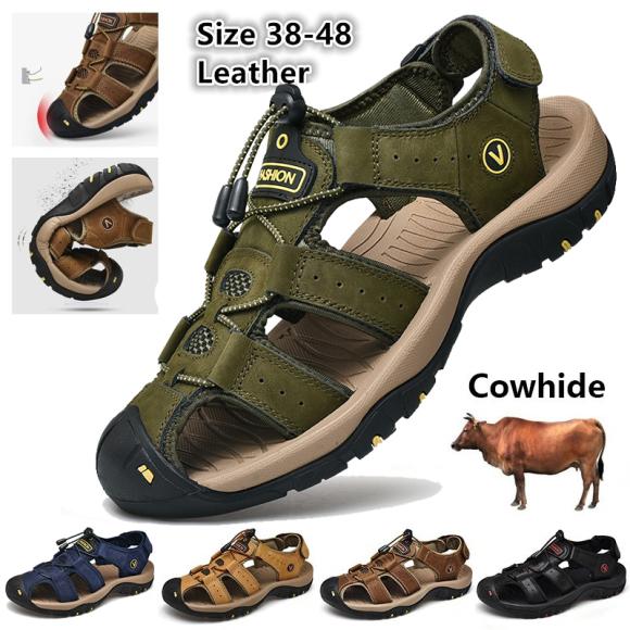 Sandal nam da bò thật cao câp bảo hành một năm giá rẻ