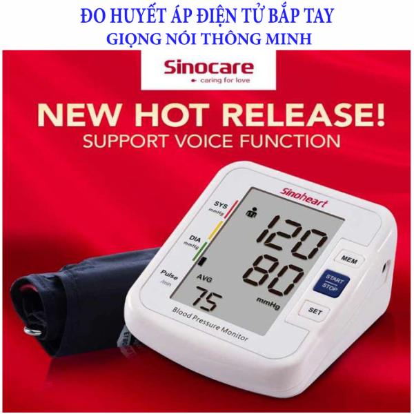 Huyết áp, Máy đo huyết áp bắp tay Sinoheart BA-801 - Sinocare Công nghệ Đức, Máy đo huyết áp điện tử Sinocare Sinoheart Công nghệ Đức kiểu giọng nói thông minh tự động