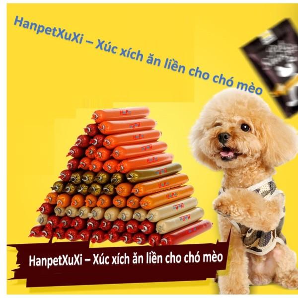 HanpetXuxi- Xúc xích chó mèo có thể ăn liền đồ ăn vặt chó mỗi cây 15gr thức ăn cho chó kiểu bánh thưởng có thể hấp chín hoặc chiên dầu