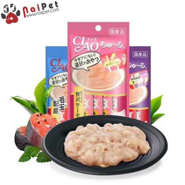 Thức Ăn Dinh Dưỡng Cho Mèo Súp Cá Ngừ Cá Hồi Sò Điệp Thanh Cua Thịt Gà Ciao Churu