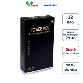 Bao cao su POWER MEN TIGHTER & LONGER & DOTTED Gân gai dáng ôm khít 3D kéo dài thời gian size nhỏ 49 hộp 12 chiếc thumbnail