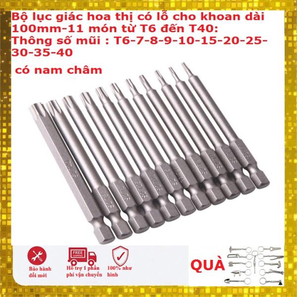 Bộ 11 mũi hoa thị lỗ từ T6 đến T40 dài 100mm có nam châm hàng Đài Loan- Bộ tô vít hoa khế cho máy khoan
