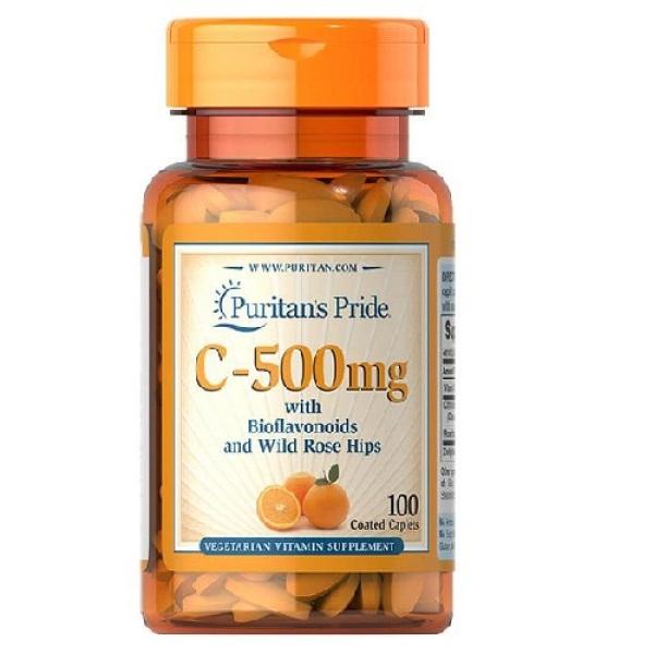 Viên uống bổ sung vitamin C (HSD: 30/8/2022) tăng cường miễn dịch chống virus gây viêm phổi, chống lão hóa cho cơ thể, giúp da nhanh liền sẹo thâm Puritans Pride C-500mg 100 viên