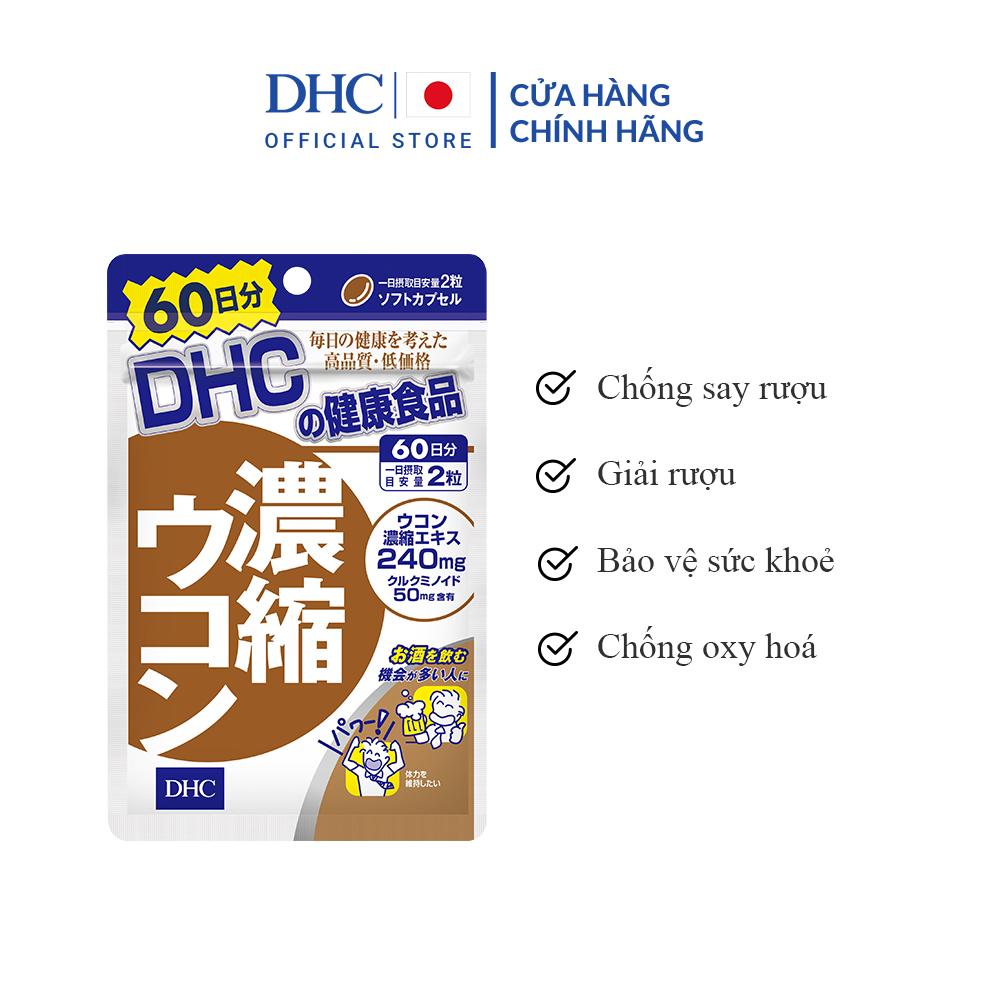 Viên Uống Giải Rượu, Thải Độc Gan DHC Concentrated Turmeric (Chiết Xuất Từ Nghệ) 60 Ngày
