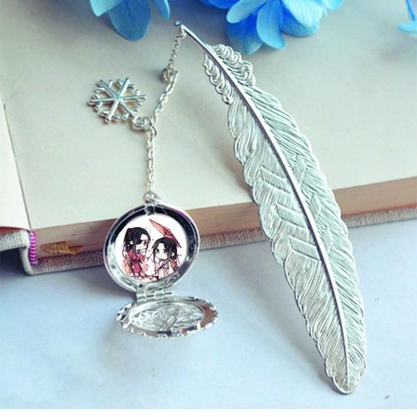 ( không kèm hộp ) Bookmark lông vũ gắn điệp in hình Thiên Quan Tứ Phúc kim loại mỏng