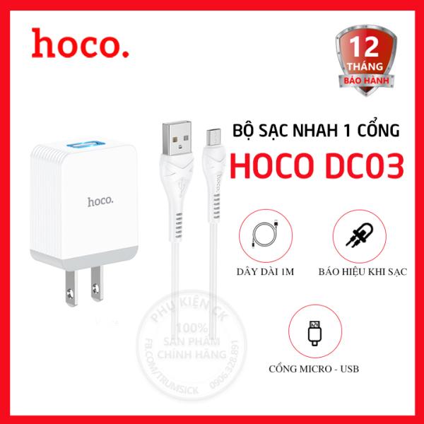 Bộ sạc nhanh Micro USB 1 cổng USB 3.0A Hoco DC03 MAX dài 1m - Dành cho điện thoại Android