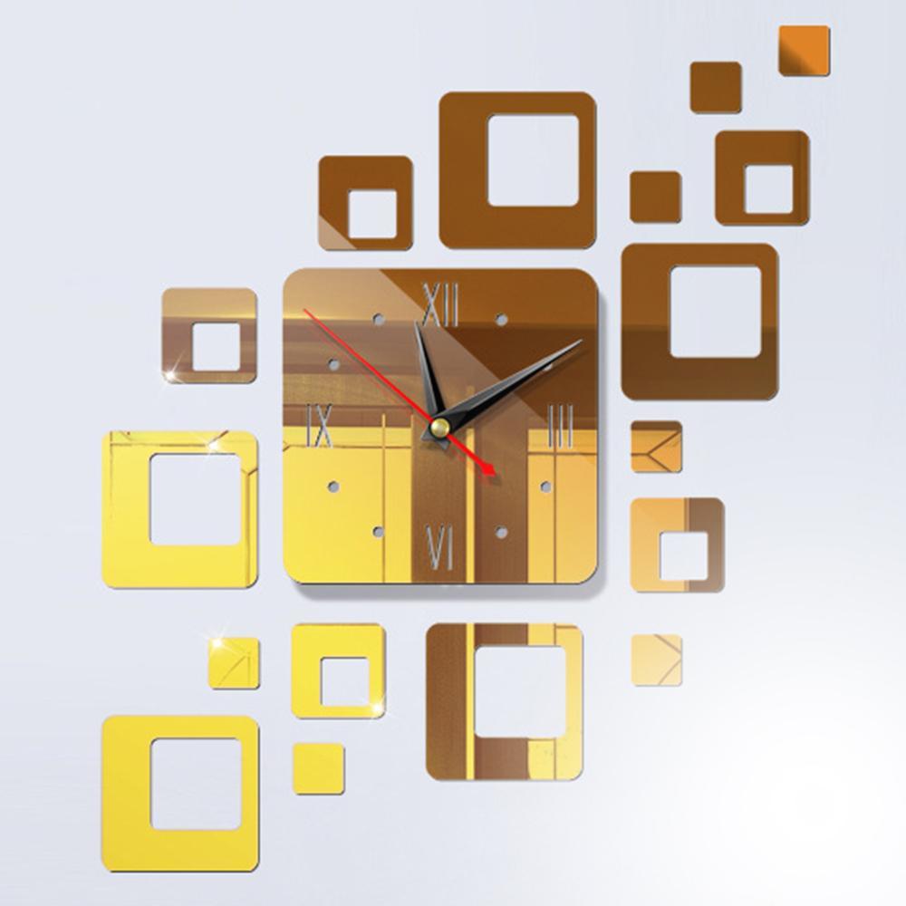 Gương đồng hồ treo tường đồng hồ treo tường đồng hồ gương Mát Mẻ Có Thể Tháo Rời Vuông 5 Màu 3D Gương phông nền TV bán chạy