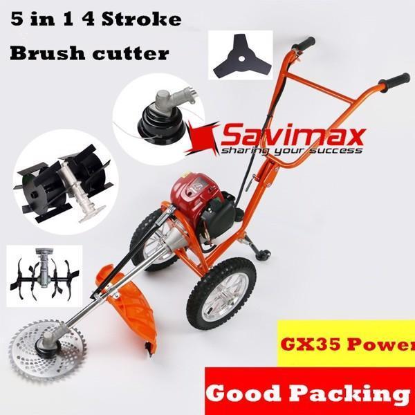 Máy xới đất đa năng mini, máy xạc cỏ đẩy tay 3 trong 1 tiện dụng động cơ GX35 - SVGG35