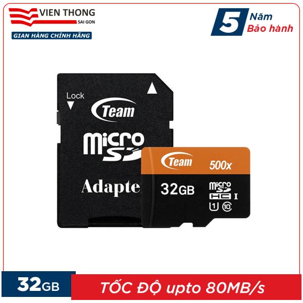 Thẻ nhớ 32GB microSDHC Team 500x upto 80MB/s class 10 U1 kèm Adapter (Cam) - Hãng phân phối chính thức (PT)