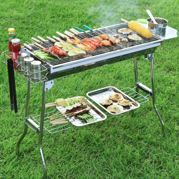 Bếp nướng ngoài trời tặng kèm phụ kiện nướng Bếp nướng than hoa sân vườn, dã ngoại có thể gấp gọn
