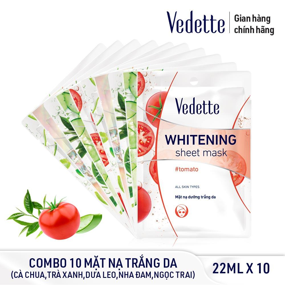 Combo 10 Mặt nạ trắng hồng tự nhiên Vedette Whitening Sheet Mask Set (Cucumber, Tomato, Green Tea, Pearl, Aloe Vera) 10 x 22ml nhập khẩu