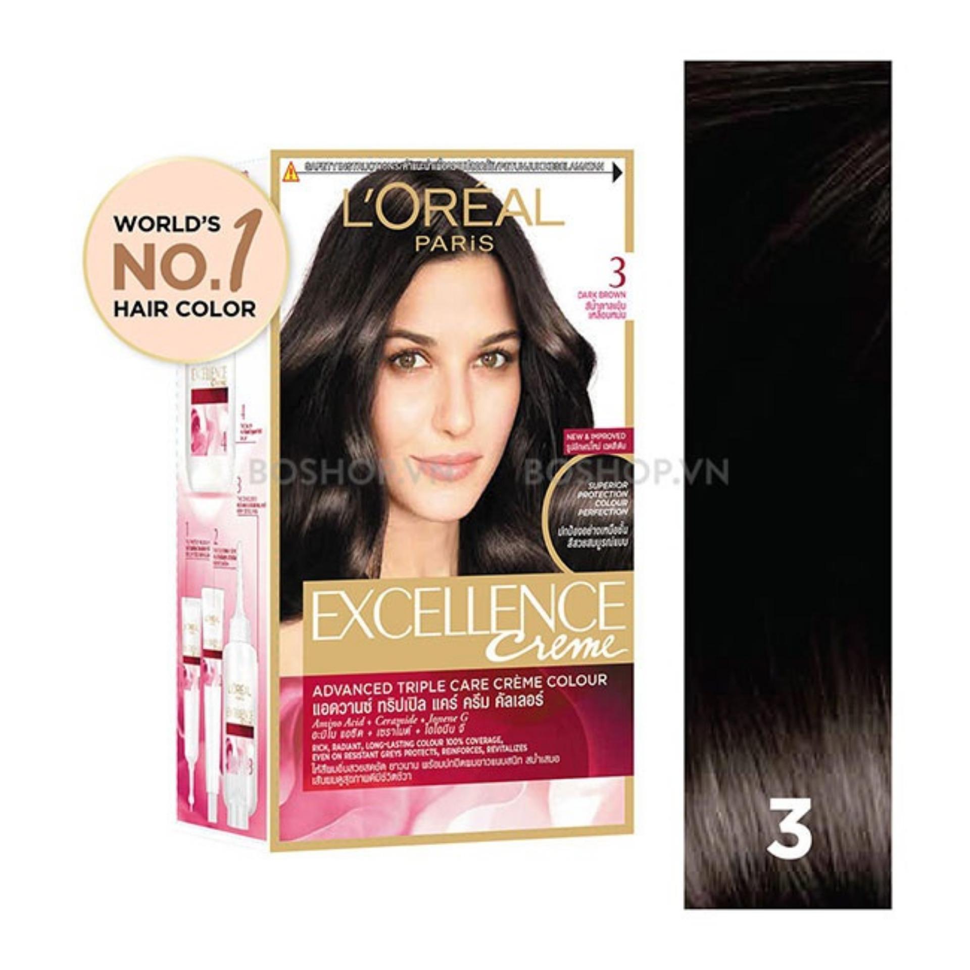 Thuốc nhuộm tóc Loreal Excellence Creme #3 Dark Brown ( Nâu đen ) - Tặng nón trùm tóc