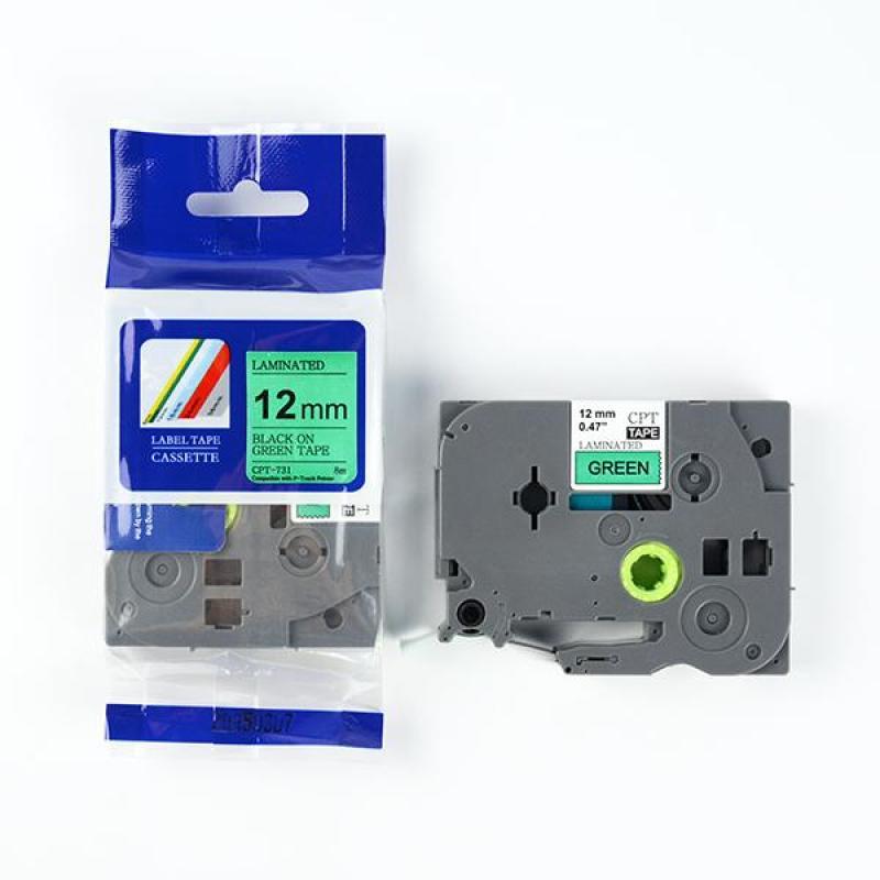 Nhãn in CPT-731 tương thích máy in nhãn Brother P-Touch - Nhãn in chữ đen nền xanh lá khổ 12mm