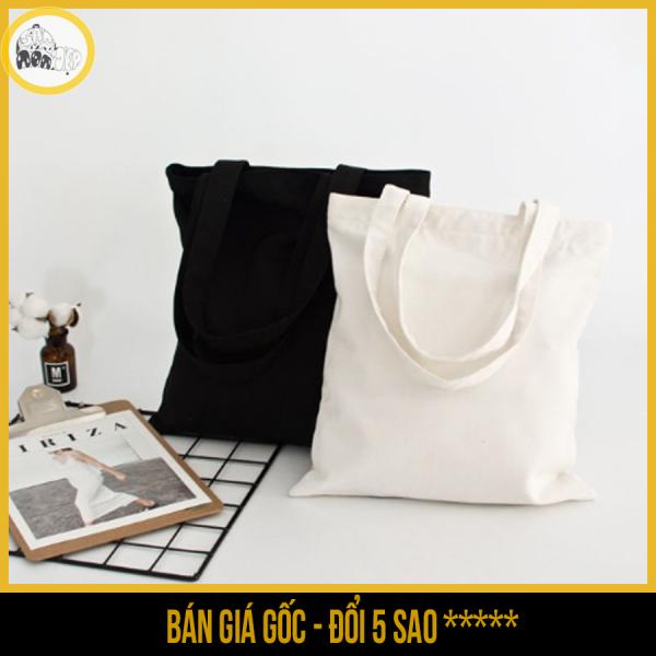 Túi vải tote nữ Canvas trơn trắng,đen có khóa kéo - Săn Nón Đẹp