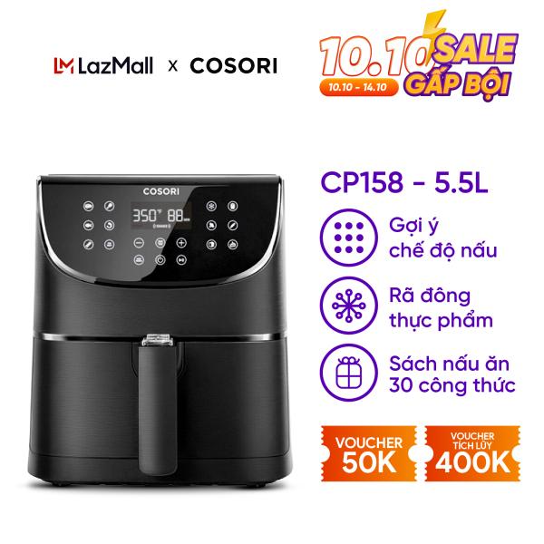 Nồi chiên không dầu Cosori CP158 (55 lít) đen nhám -Bảng điều khiển cảm ứng TOUCH LED-11 chương trình nấu thiết lập sẵn- Nhắc nhở lắc/lật thực phẩm- Chức năng tự động tắt và giữ ấm- Bảo hành 2 năm