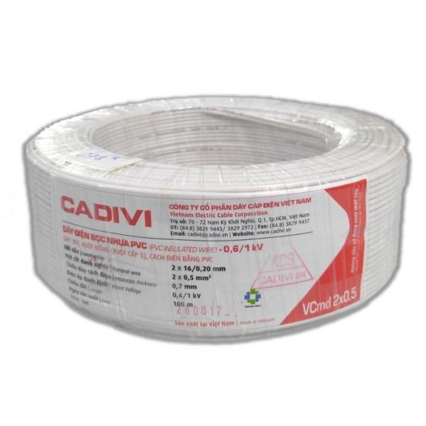 Dây điện đôi mềm CADIVI - Vcmd 2x0.5 - 100mét