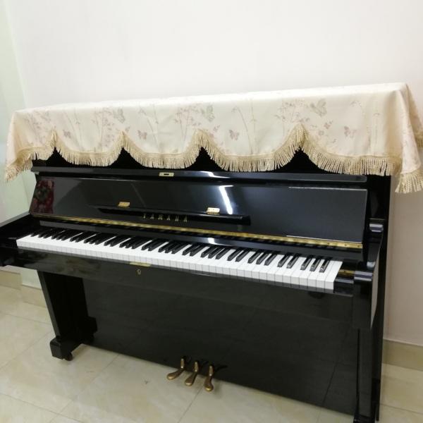 KHĂN PHỦ ĐÀN PIANO CƠ,HỌA TIẾT CÂY TRÚC ,MÀU KEM