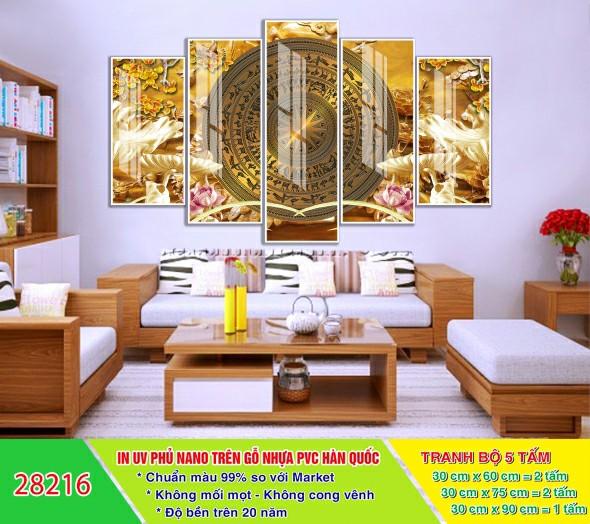 Tranh Trống Đồng / Tranh Điêu Khắc Treo Phòng Thờ / Tranh Gỗ Ghép 3D Hiện Đại ĐK07