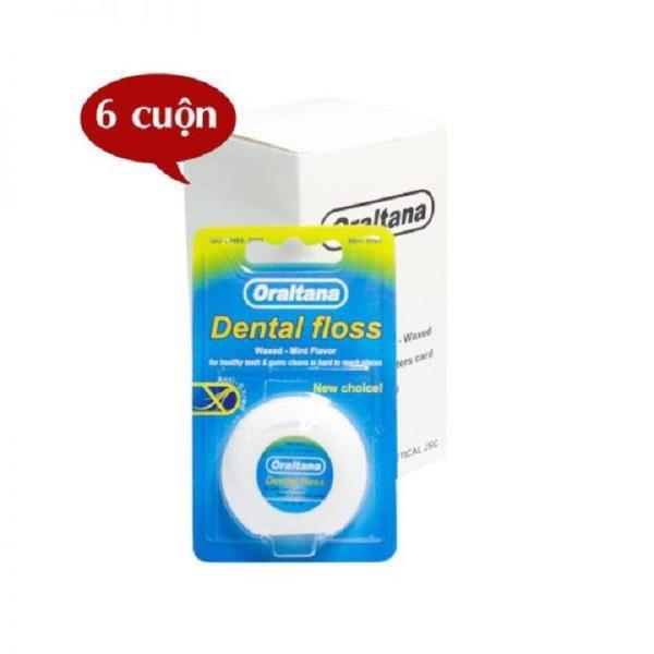 Hộp 6 cuộn Chỉ nha khoa Oraltana đa sợi cuộn dài 50m hương bạc hà - giúp vệ sinh răng miệng sạch sẽ cho gia đình giá rẻ