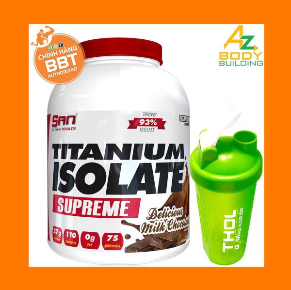 Thực phẩm bổ sung S.A.N Titanium Whey Isolate Supreme - Protein thuỷ phân tinh khiết hỗ trợ hấp thu nhanh - Tặng kèm bình lắc THOL màu ngẫu nhiên