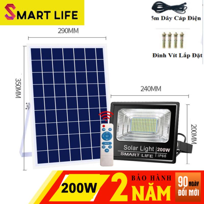 Đèn LED Năng Lượng Mặt Trời  SMART LIFE 200w Cảm Biến Ánh Sáng tự động bật sáng khi trời tối, và tắt đèn khi trời sáng