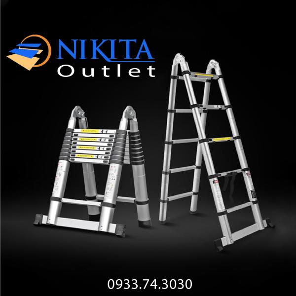 Thang nhôm rút đôi [NIKITA] - NKT AI44 (4.4m) - Tiêu chuẩn an toàn Châu Âu EN131 - Bảo hành chính hãng 2 năm