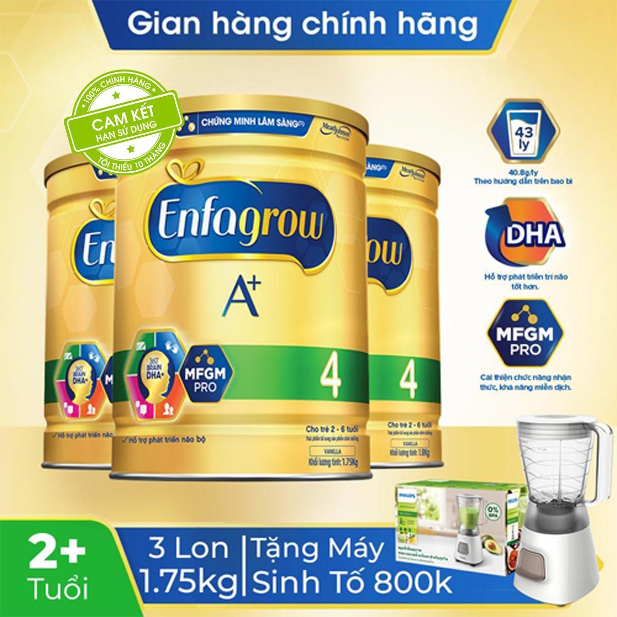 Deal Ưu Đãi Bộ 3 Lon Sữa Bột Enfagrow A+ 4 (1.75kg) - Tặng 1 Máy Xay Sinh Tố Philips HR2051 Trị Giá 800k - Cam Kết HSD Còn ít Nhất 10 Tháng